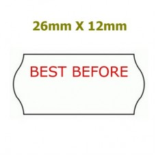 *BOX* 26X12 Price Gun Labels 'BEST BEFORE' Permanent Adhesive