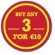 'Buy any 3 for €10' Labels