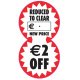 "Reduced To Clear 2 Part Label ""€2 Off"""